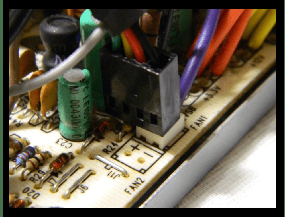 Подключение коннектора кулера 4 pin к 2 pin разъему