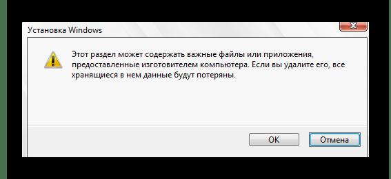 Подтверждение удаления раздела жесткого диска во время установки Windows 10