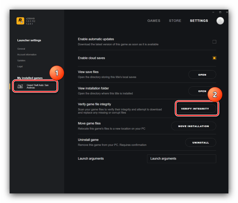 Проверка целостности файлов через Rockstar Launcher для устранения проблем с запуском GTA V в Windows 10