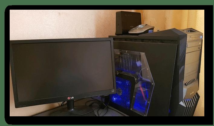 Работающий системный блок, но незажёгшийся монитор