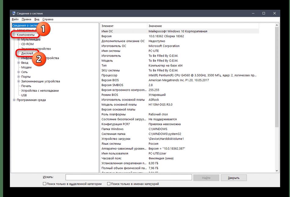 Раскрытие списка с информацией о дисплее в утилите msinfo32