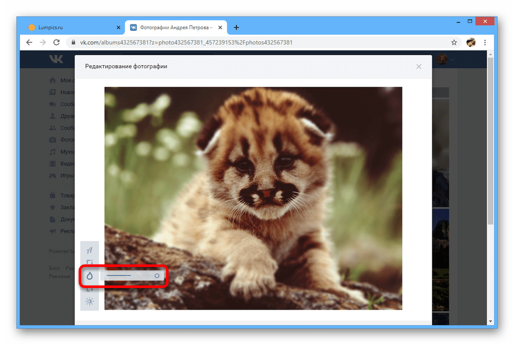Размытие фона на фотографии на сайте ВКонтакте