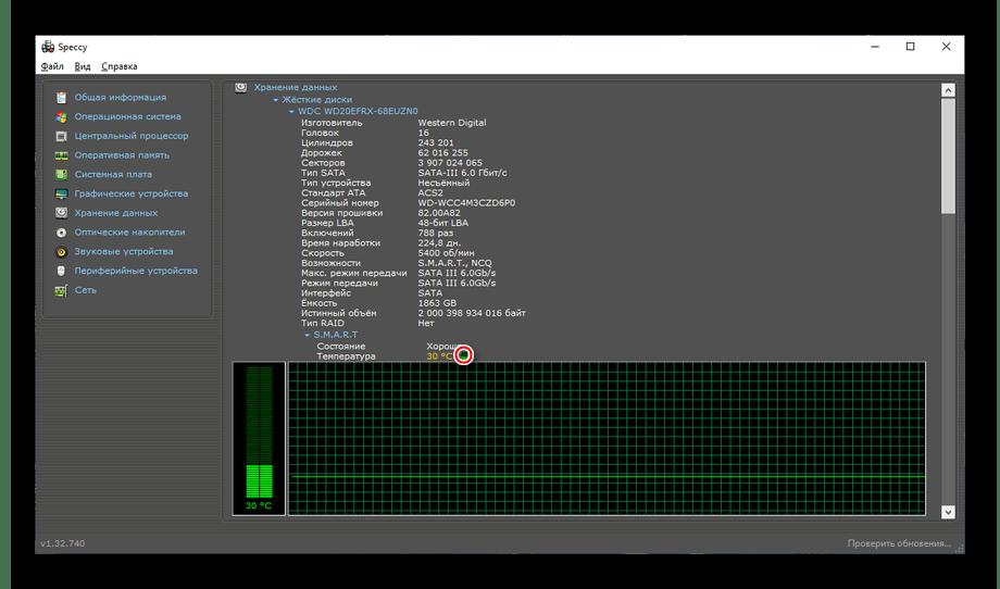 Температурный график для жёсткого диска в Speccy