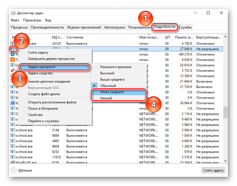 Установка уровня приоритета в Диспетчере задач Windows