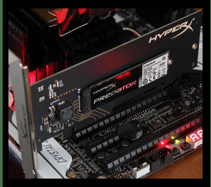 Установленный SSD в слот PCI Express x4 на материнской плате