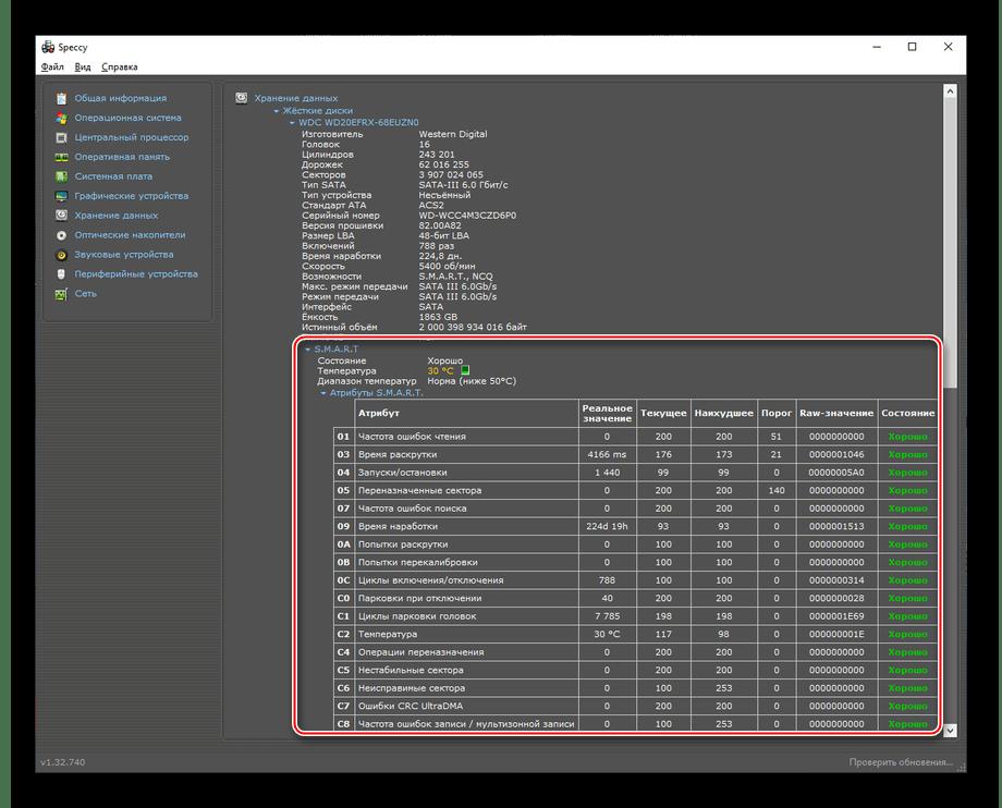 Вкладка Хранение данных и показатели S.M.A.R.T. для жёсткого диска в Speccy