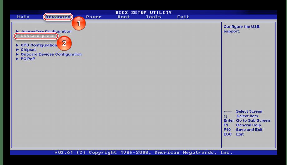 Вкладка расширенных настроек, переход в настройки USB в BIOS