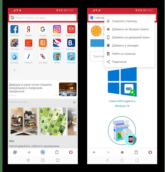 Внешний вид легкого веб-обозревателя Opera Mini для Android