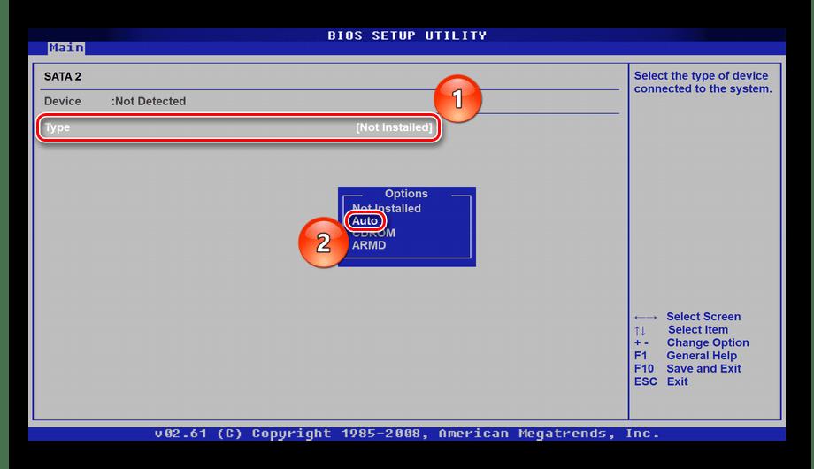 Выбор режима работы разъёма SATA в BIOS