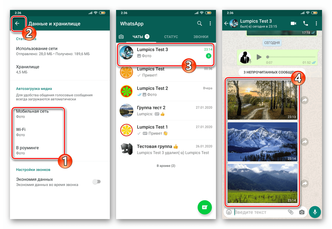 WhatsApp для Android Автозагрузка фотографий из чатов в мессенджере включена