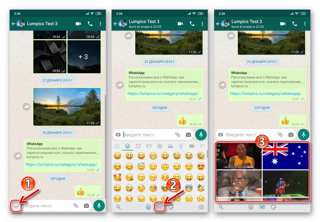 WhatsApp для Android переход к выбору GIF из каталога для отправки через мессенджер
