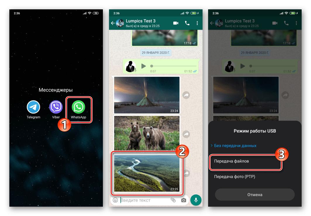 WhatsApp для Android подключение девайса к ПК с целью скопировать фото из мессенджера