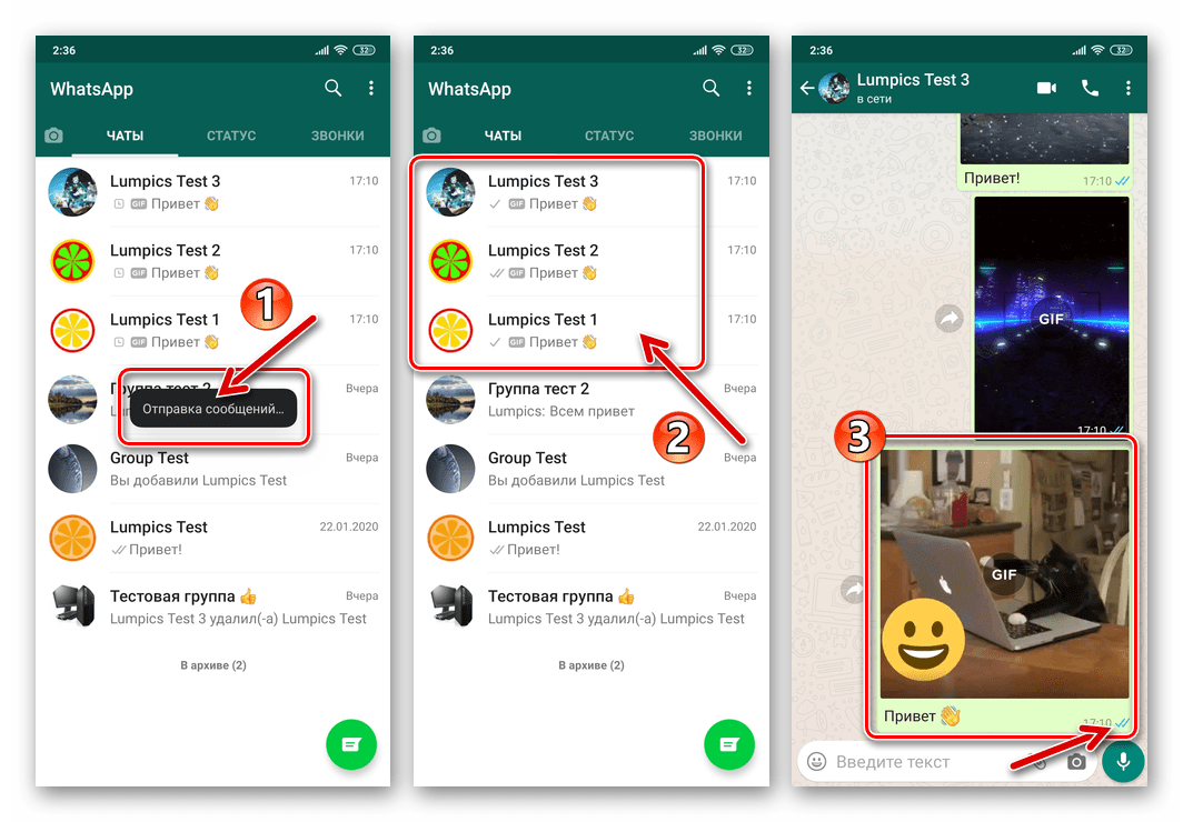 WhatsApp для Android процесс отправки нескольких GIF-файлов одновременно нескольким получателям