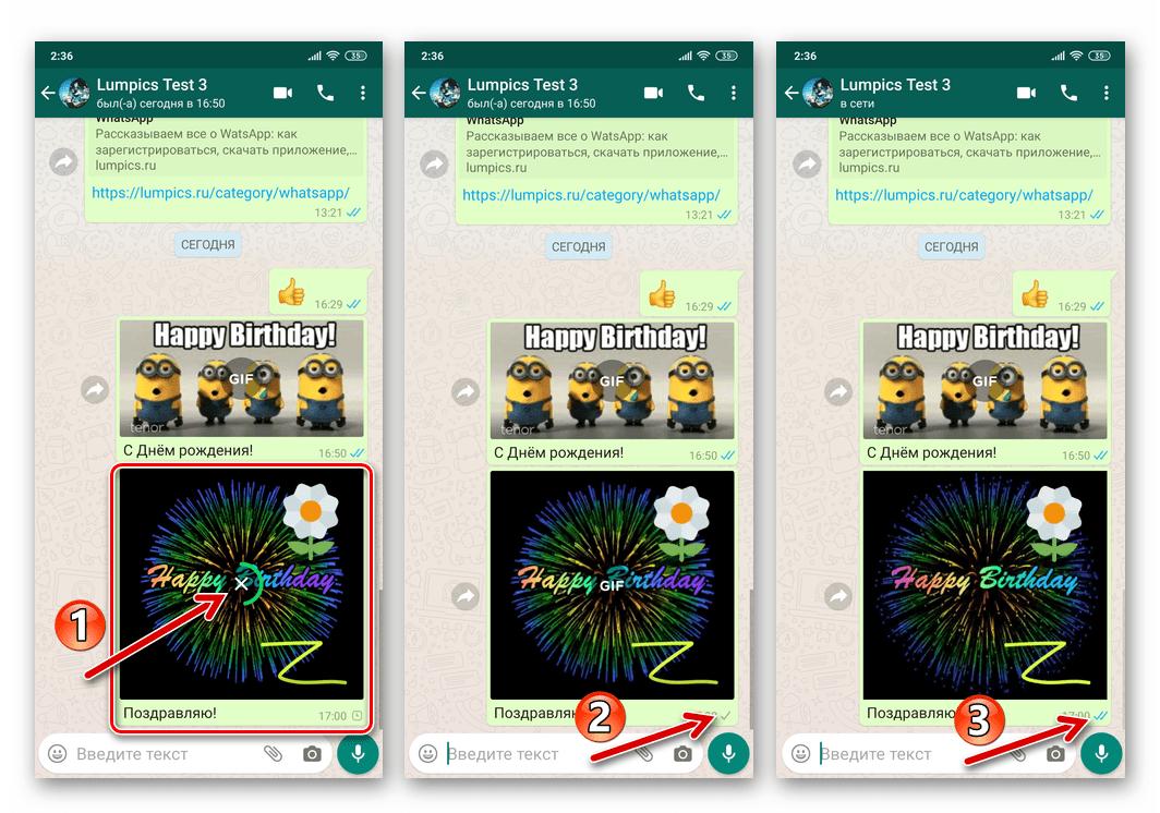 WhatsApp для Android процесс передачи гифки из памяти смартфона через мессенджер