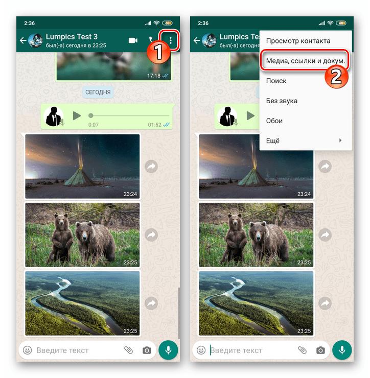 WhatsApp для Android пункт Медиа ссылки документы в меню чата