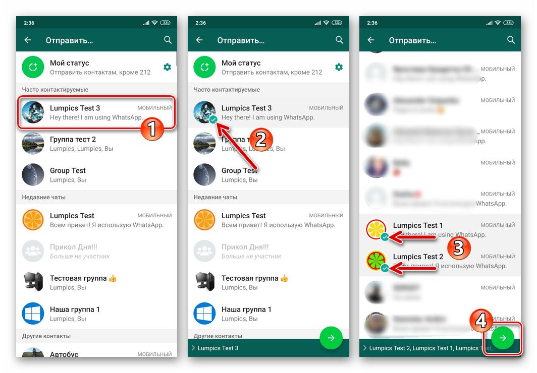 WhatsApp для Android выбор получателей GIF-файлов из Проводника в мессенджере