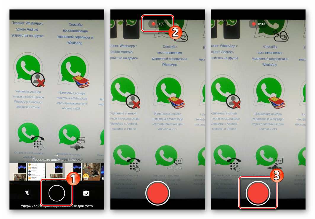 WhatsApp для Android запись короткого видео для преобразования в GIF и отправки через мессенджер