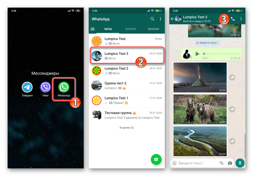 WhatsApp для Android - запуск мессенджера, переход в чат с фото для загрузки на ПК