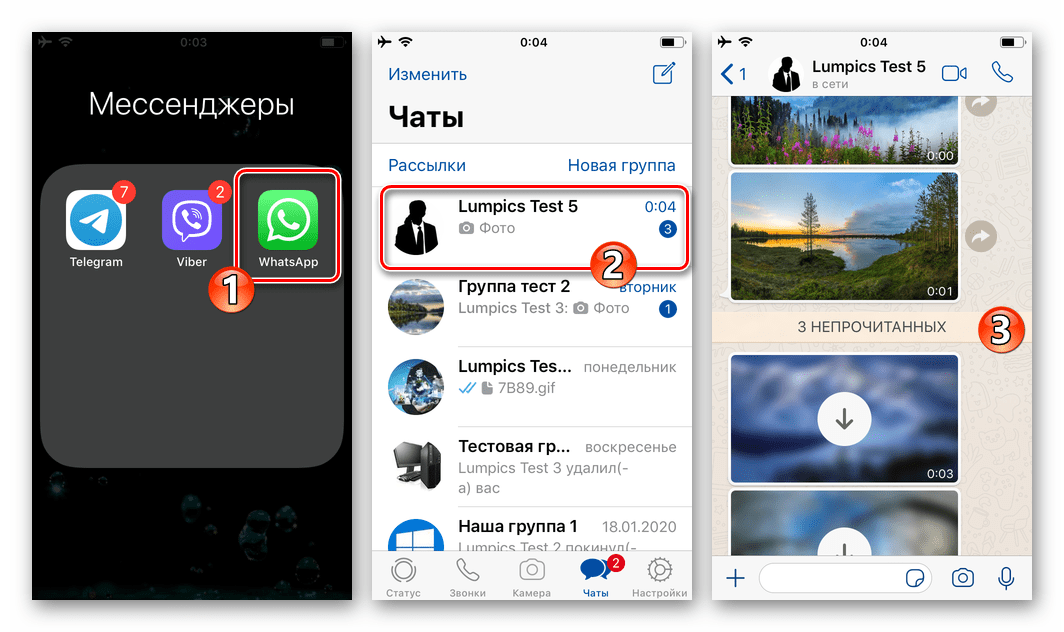 WhatsApp для iOS переход в чат с фотографиями для загрузки в память iPhone