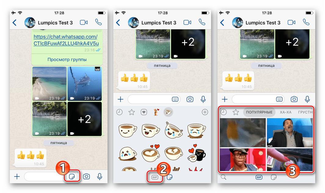 WhatsApp для iOS переход в каталог GIF с экрана чата