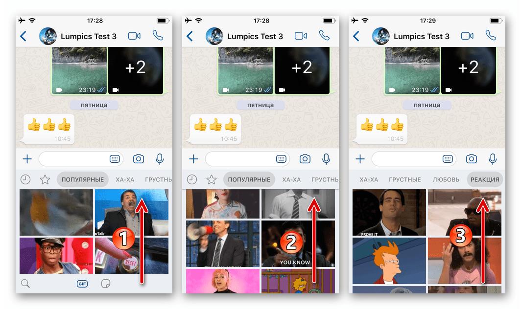 WhatsApp для iOS просмотр библиотеки доступных для отправки через мессенджер GIF