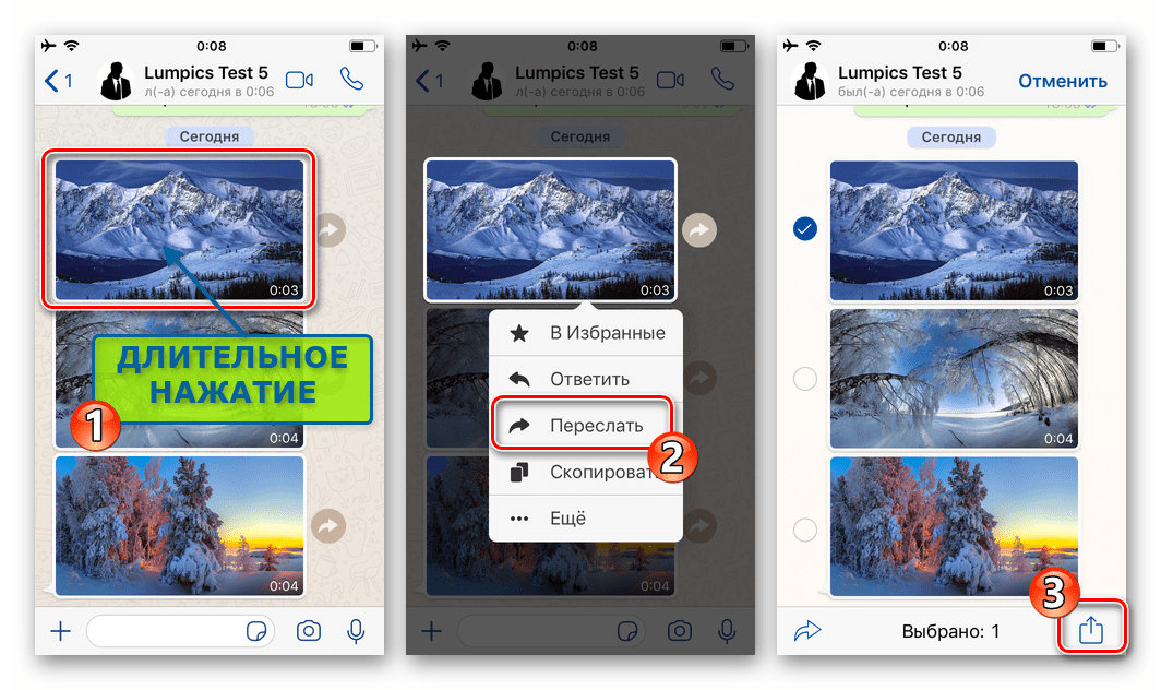 WhatsApp для iOS пункт Переслать в контекстном меню сообщения с фото