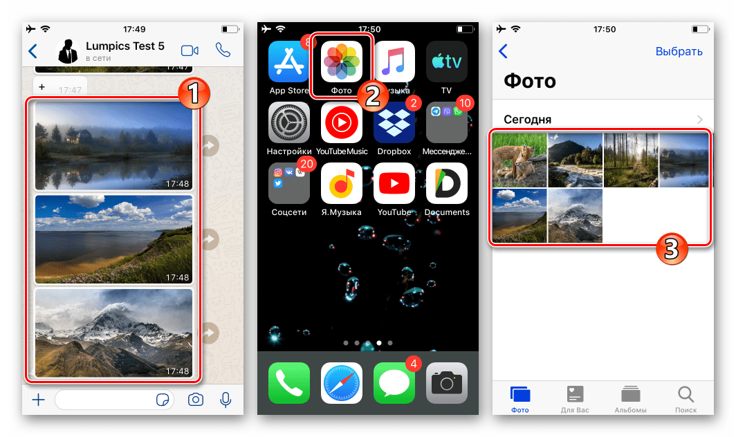 WhatsApp для iOS - сохранение фото на iPhone перед их отправкой на ПК