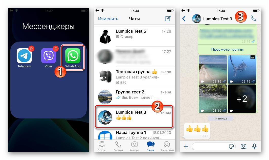 WhatsApp для iOS запуск мессенджера на iPhone, переход в чат для отправки GIF