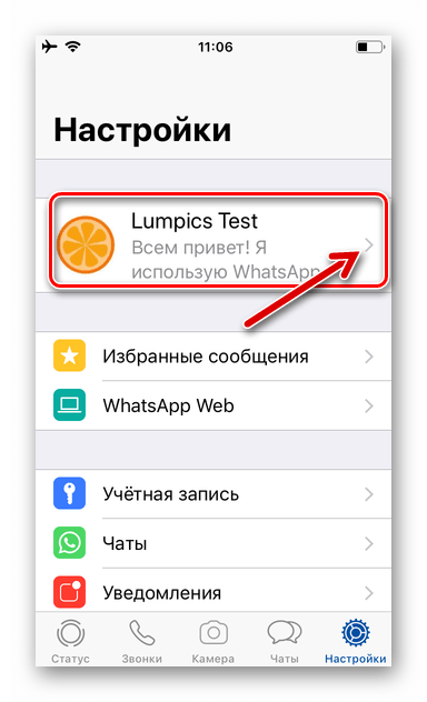 WhatsApp для iPhone имя и аватарка пользователя в Настройках мессенджера