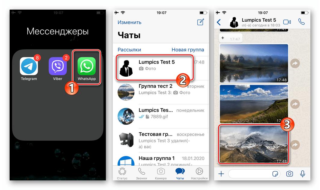 WhatsApp для iPhone открытие чата с сообщением-фото в мессенджере, развернуть изображение на весь экран