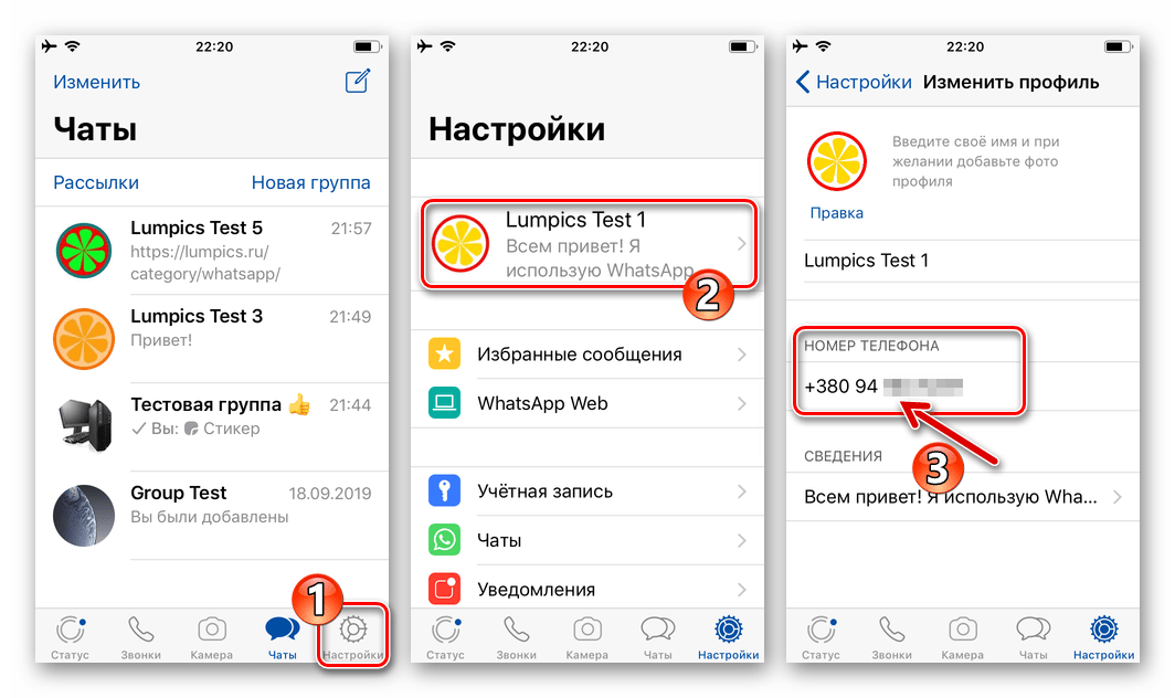 WhatsApp для iPhone просмотр своего номера телефона в мессенджере