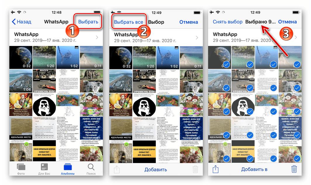 WhatsApp для iPhone выбор всех объектов (фото, видео) в Альбоме мессенджера