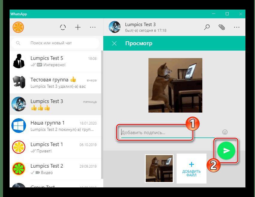WhatsApp для Windows добавление подписи и отправка GIF-анимации собеседнику в мессенджере