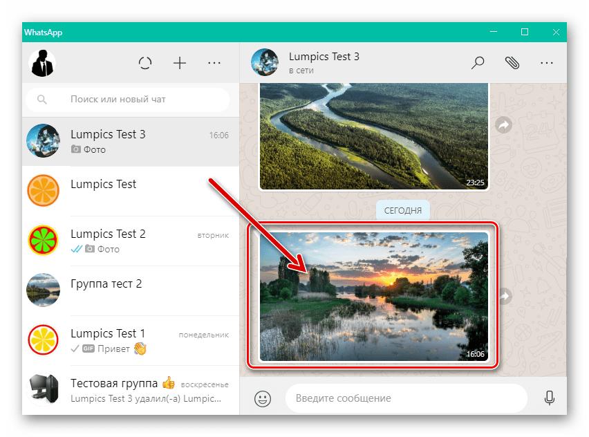 WhatsApp для Windows - фото в переписке, которое нужно скачать на диск ПК