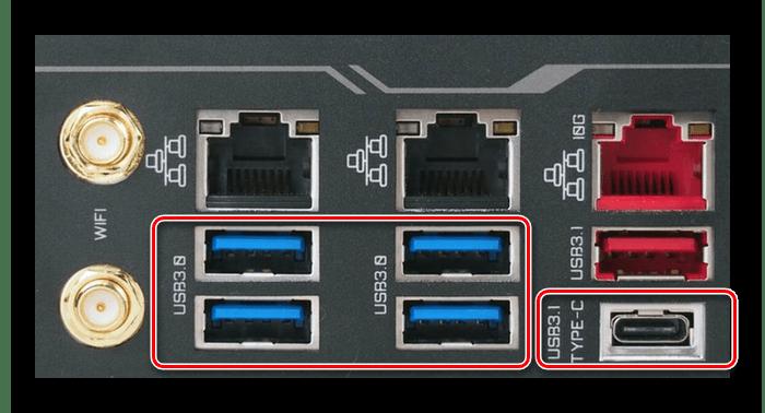 Задняя панель материнской платы с USB версии 3.0 и выше