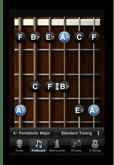 Интерфейс приложения GuitarToolkit на Айфон
