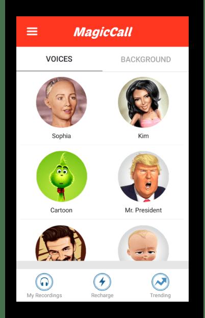 Интерфейс приложения MagicCall – Voice Changer App на Android