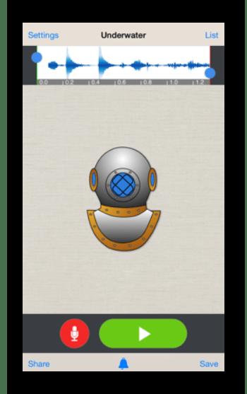 Интерфейс приложения Voice Changer Plus на Айфон