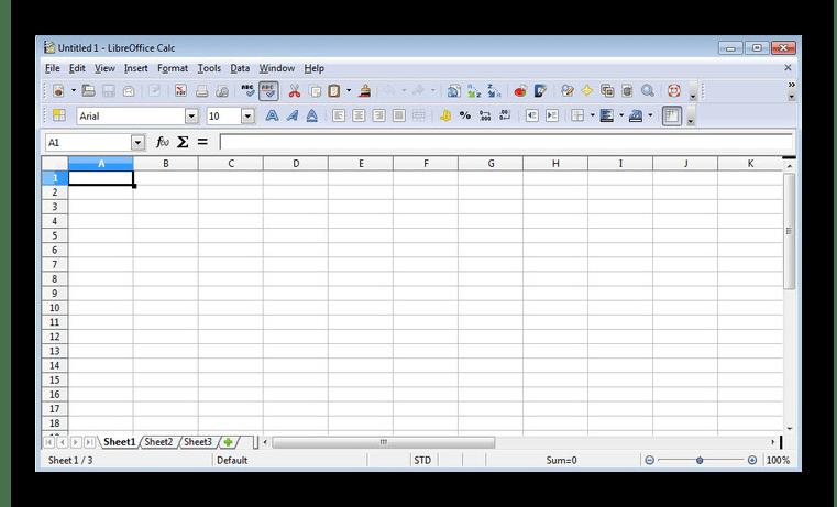 Интерфейс программы LibreOffice Calc