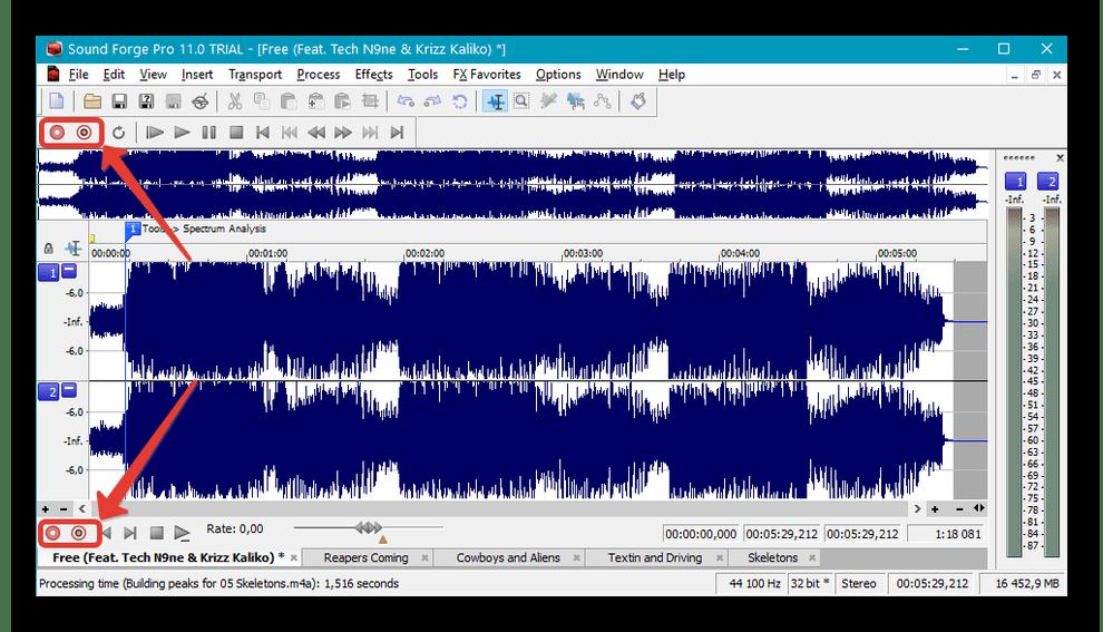 Интерфейс программы Sound Forge