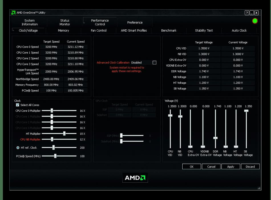 Использование программы AMD OverDrive для разгона оперативной памяти
