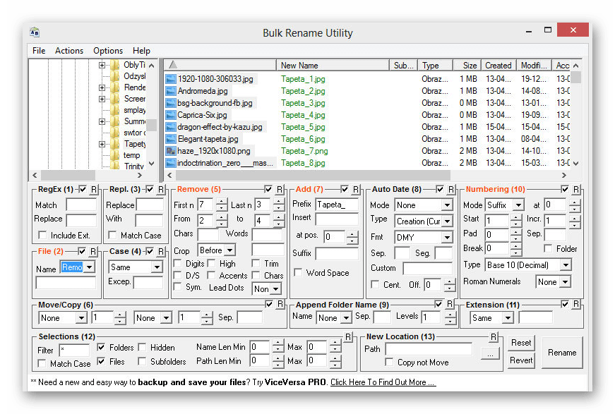 Использование программы Bulk Rename Utility для массового переименования файлов