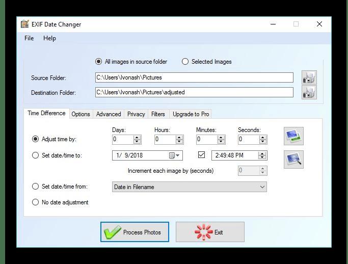 Использование программы EXIF Date Changer для изменения даты создания файла