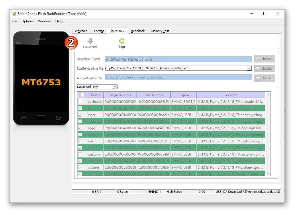 Meizu M5s SP Flash Tool программа в режиме ожидания подключения девайса для прошивки