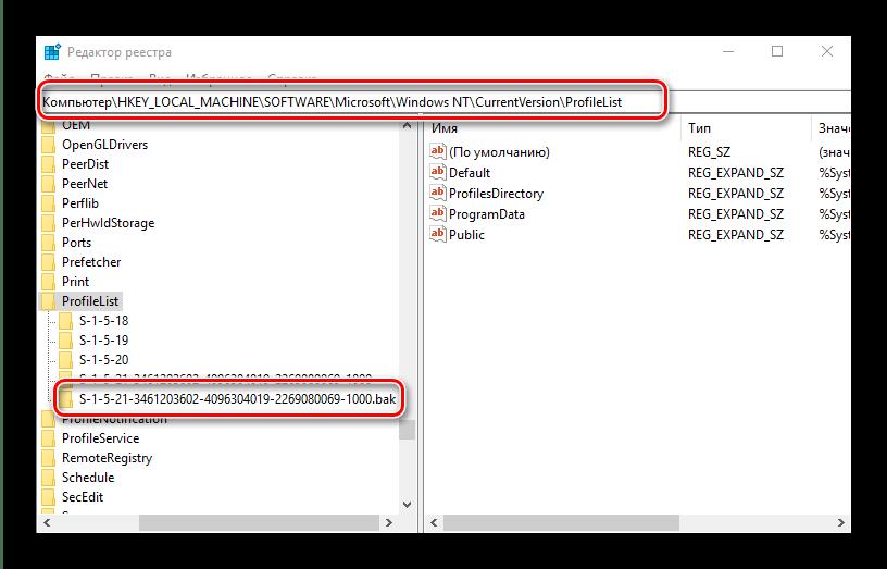 Найти в реестре резервную папку для устранения проблемы с временным профилем в windows 10