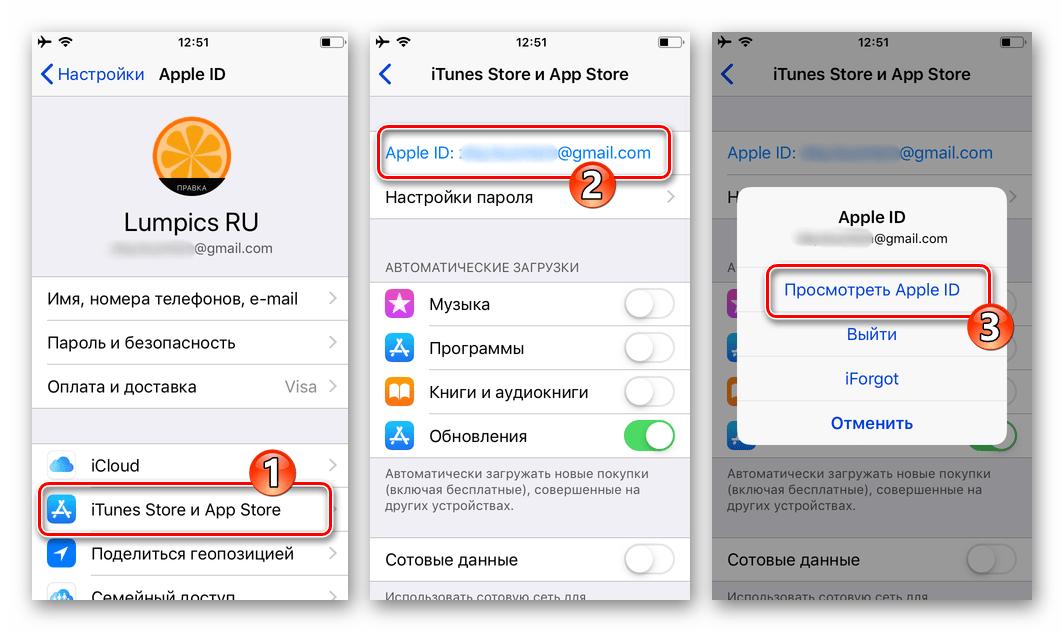 Настройки iOS - Apple ID - iTunes Store и App Store - переход к экрану Посмотреть Apple ID