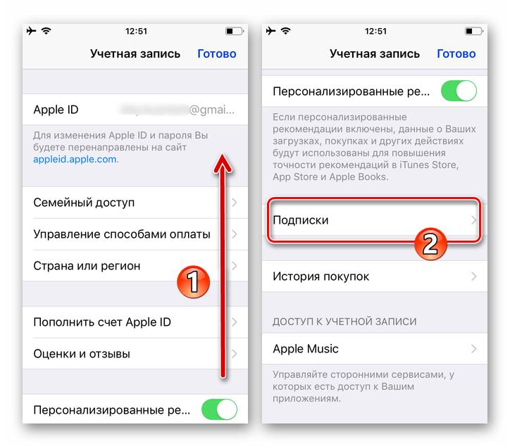 Настройки iOS - просмотр параметров Apple ID - раздел Подписки