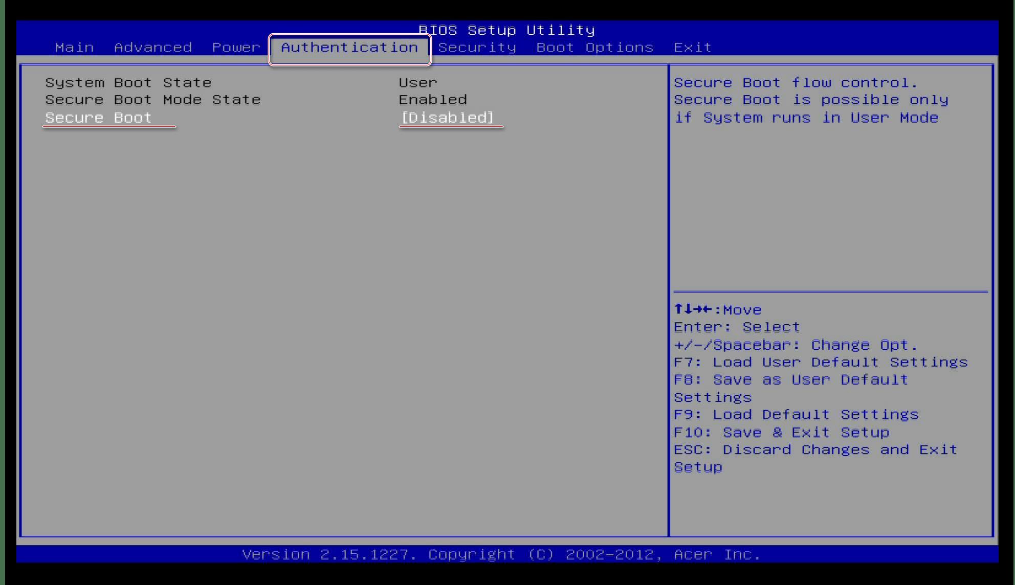 Отключение SecureBoot для включения тестового режима в windows 10