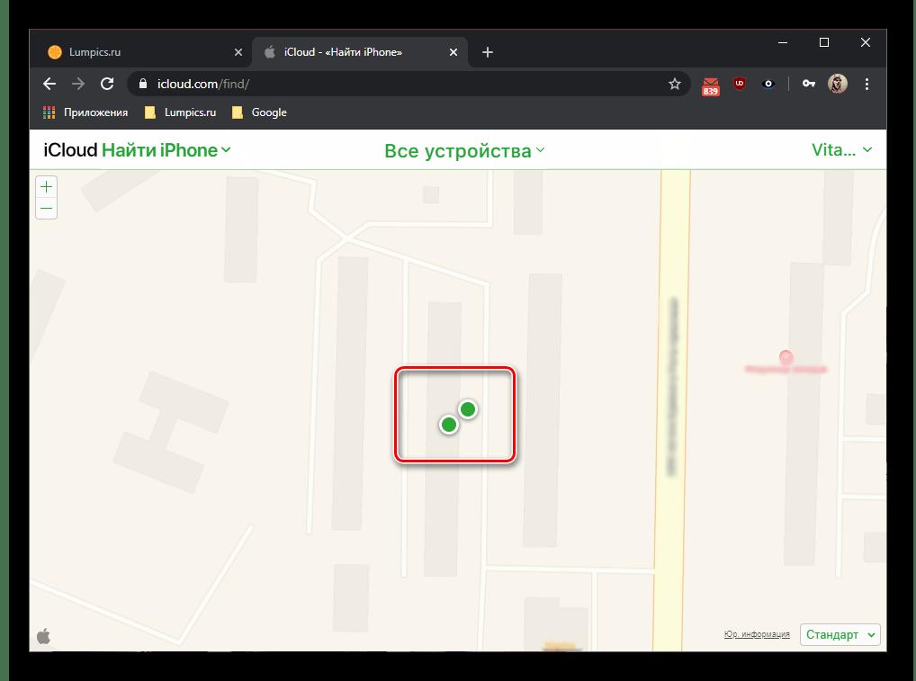 Отображение устройств на сайте iCloud в браузере для сброса настроек iPad