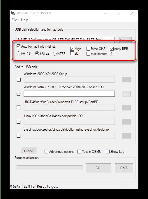 Параметры форматирования накопителя в WinSetupFromUSB для создания мультизагрузочной флешки с Windows 10